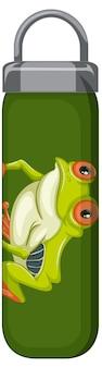 Eine grüne thermosflasche mit froschmuster