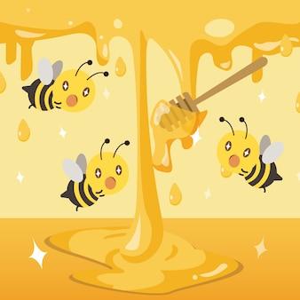 Eine gruppe bienen, die mit dem honig aufregend ist. honig auf den boden fallen