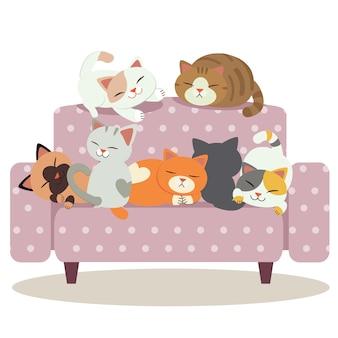 Eine gruppe der netten katze spielend auf dem purpurroten tupfensofa