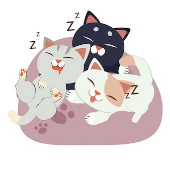 Eine gruppe der niedlichen charakterkatze schlafend auf dem sitzsack