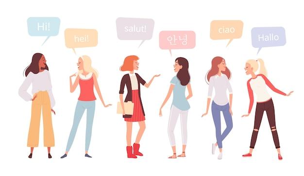 Eine gruppe glücklicher frauen verschiedener nationalitäten sagt hallo in verschiedenen sprachen. internationaler frauentag. auf einem weißen hintergrund isoliert.