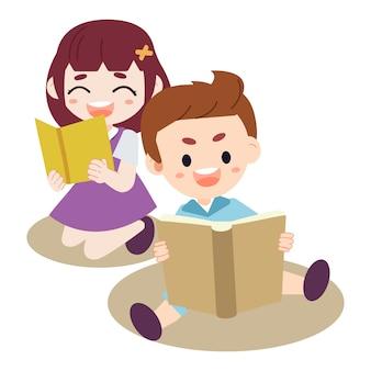 Eine gruppe kinder, die das buch lesen. kind macht hausaufgaben jungen und mädchen, die das buch lesen.