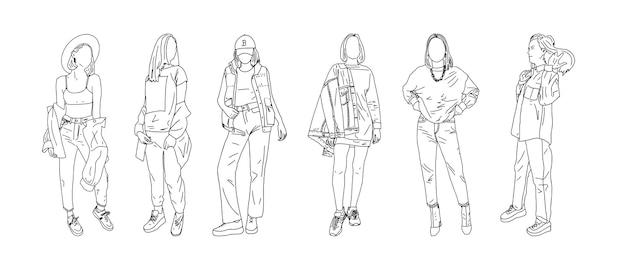 Eine gruppe stilvoller studentinnen, die in jugendkleidung posieren. linearer stil. vektor-illustration.