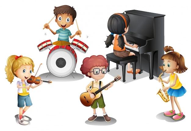 Eine gruppe talentierter kinder