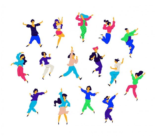 Eine gruppe tanzender menschen in verschiedenen posen und emotionen.