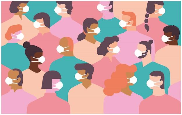 Eine gruppe überfüllter menschen, männer und frauen, die hygienemasken tragen, um sich vor der übertragung einer ansteckenden krankheit oder eines ansteckenden virus zu schützen.