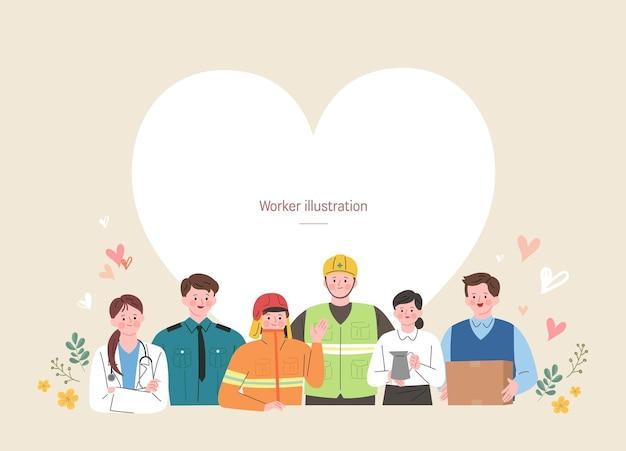 Eine gruppe von arbeiter illustration