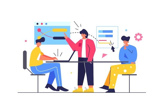 Eine gruppe von arbeitern diskutiert ihr projekt auf großen virtuellen bildschirmen, der typ sitzt am tisch am laptop