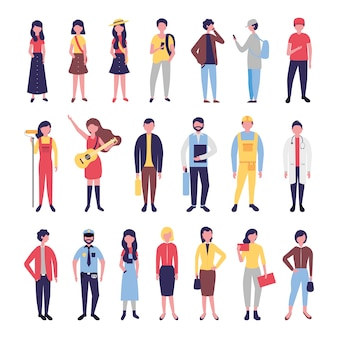 Eine gruppe von community-leuten bündelt charaktere