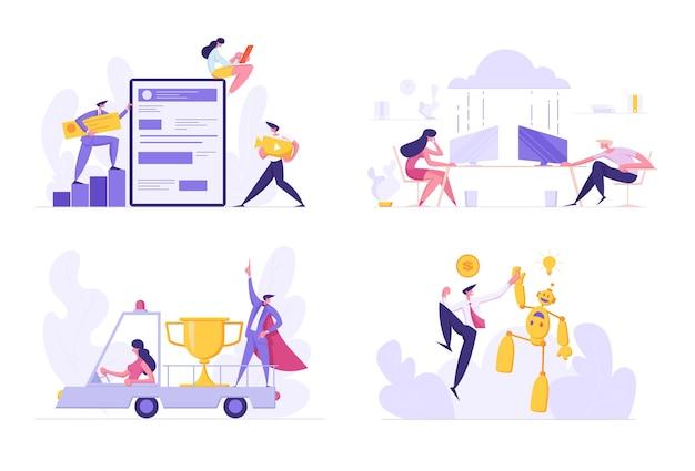 Eine gruppe von entwicklern erstellt eine illustration für mobile anwendungen