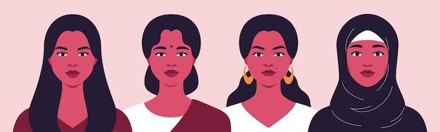 Eine gruppe von frauen verschiedener nationalitäten konzept der schwesternschaft