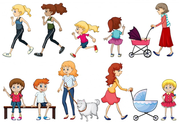 Eine gruppe von jungen und erwachsenen damen