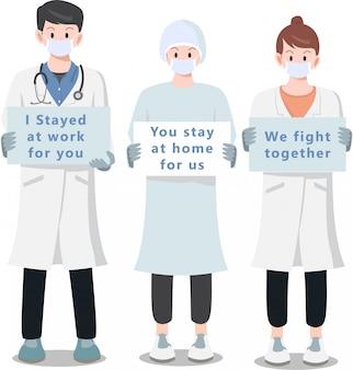 Eine gruppe von medizinern schlägt uns vor, zu hause zu bleiben
