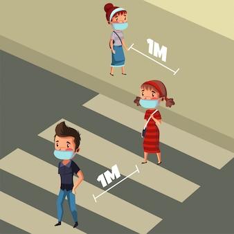 Eine gruppe von menschen hat soziale und physische distanz beim überqueren des zebrastreifens