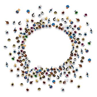 Eine gruppe von menschen in form eines chat-symbols, isoliert auf weißem hintergrund. vektor-illustration