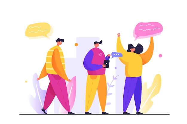 Eine gruppe von menschen ist auf der straße, ein mann geht die straße entlang, ein mann mit einem telefon auf weißem hintergrund