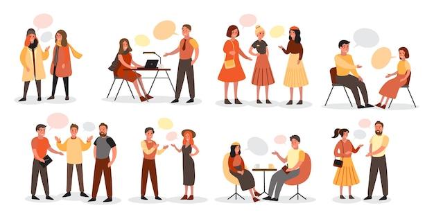 Eine gruppe von menschen spricht unter verwendung eines blasensprachensets miteinander.