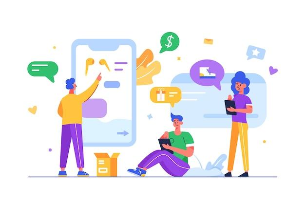 Eine gruppe von menschen tätigt online-einkäufe über mobile geräte, displays und waren. der typ wählt ein produkt mit seinem finger auf einem großen mobilen display aus, das auf weißem hintergrund und flacher illustration isoliert ist