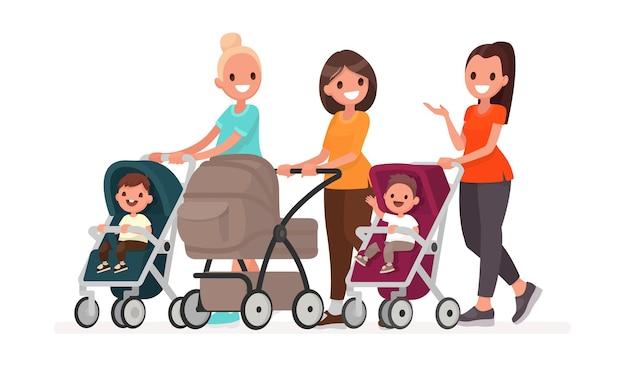 Eine gruppe von müttern kommuniziert und reitet kleinkinder in kinderwagen. spaziergang von jungen müttern mit kindern. im flachen stil