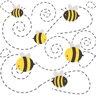 Eine gruppe von niedlichen charakter biene fliegen. die form der gestrichelten sehen aus wie eine spirale.