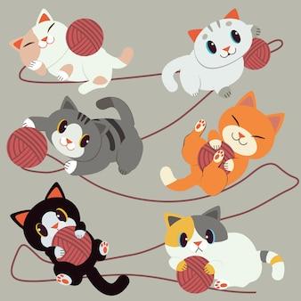 Eine gruppe von niedlichen katze spielt mit dem roten garn. die katze sieht entspannt und glücklich aus. sie lächeln. süße katze im flachen vektor-stil