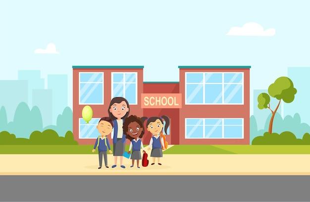 Eine gruppe von schülern in der nähe der schule lustige kinder willkommen in der schule vektorgrafik