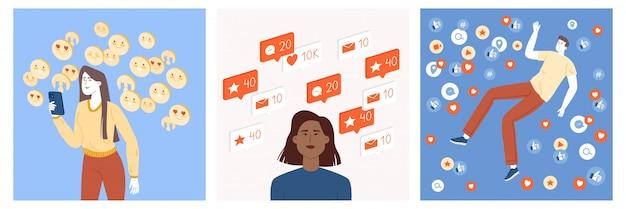Eine gruppe von teenagern, die ihr profil in sozialen netzwerken aktiv pflegen und feedback in form von likes, emoticons, kommentaren, tags, marken und neuen abonnenten erhalten.