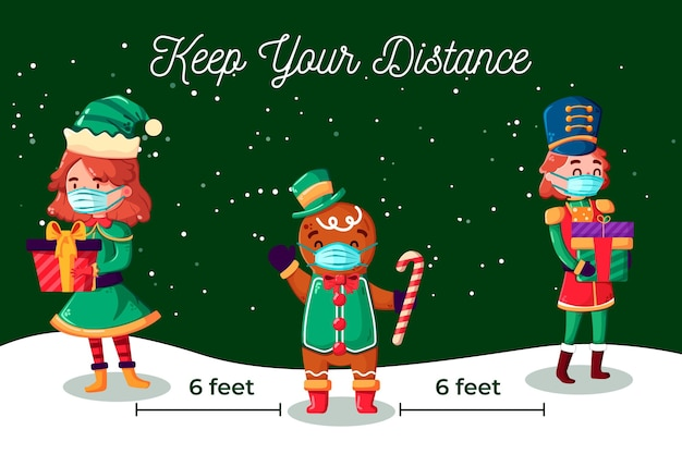 Eine gruppe von weihnachtsfiguren soziale distanzierung