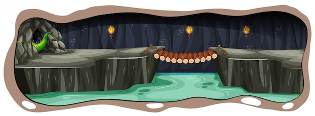 Eine gruselige dunkle drachenhöhle