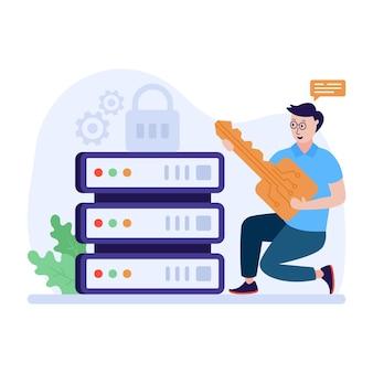 Eine gut gestaltete flache illustration des serverschlüssels