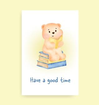 Eine gute zeitkarte mit süßem teddybär