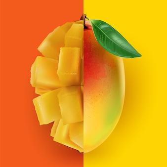 Eine halbe ganze mango kombiniert mit einer halben gewürfelten mango.