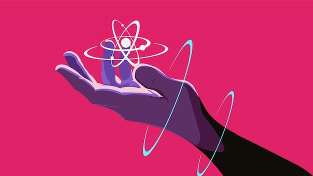 Eine hand, die ein schwebendes atom hält.
