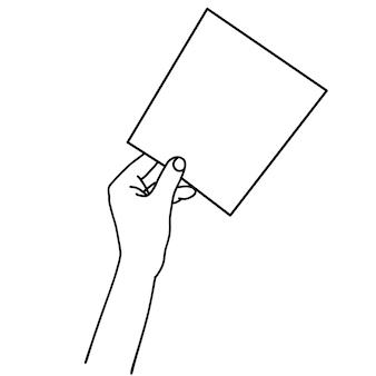 Eine hand, die lineare handgezeichnete illustration des leeren papierblattes hält