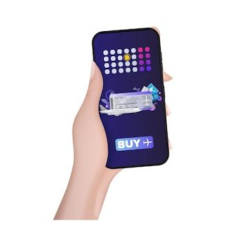 Eine hand hält ein mobiltelefon mit der anwendung für den kauf von flugtickets.