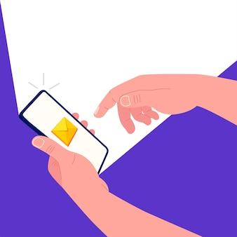 Eine hand hält ein smartphone und die andere berührt den bildschirm. neue nachricht auf dem smartphone-bildschirm. vektor-illustration.