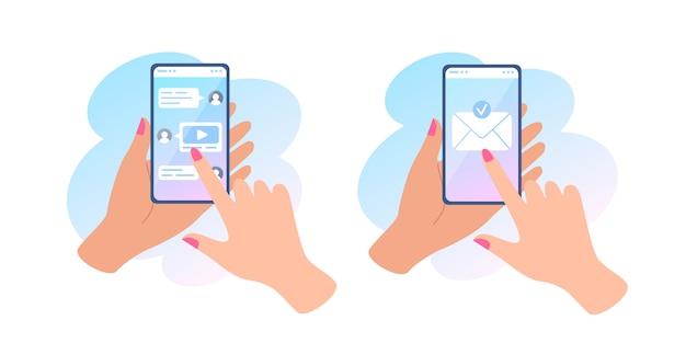 Eine hand hält ein telefon mit einer nachricht auf dem bildschirm, sendet eine nachricht und online-chat, umschlag auf dem touchscreen.