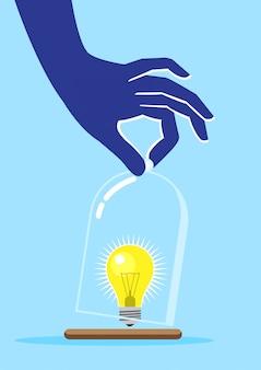 Eine hand- und glühbirnenidee