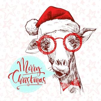 Eine hippie-weihnachtsgiraffe. hand gezeichnete giraffe in den gläsern, sankt hut