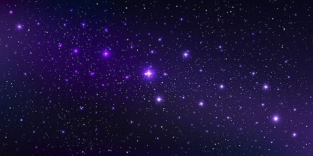 Eine hochwertige hintergrundgalaxienillustration mit sternenstaub und hell leuchtenden sternen, die den raum beleuchten