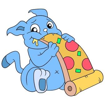 Eine hungrige katze, die eine riesige pizza isst, vektorillustrationskunst doodle symbolbild kawaii.