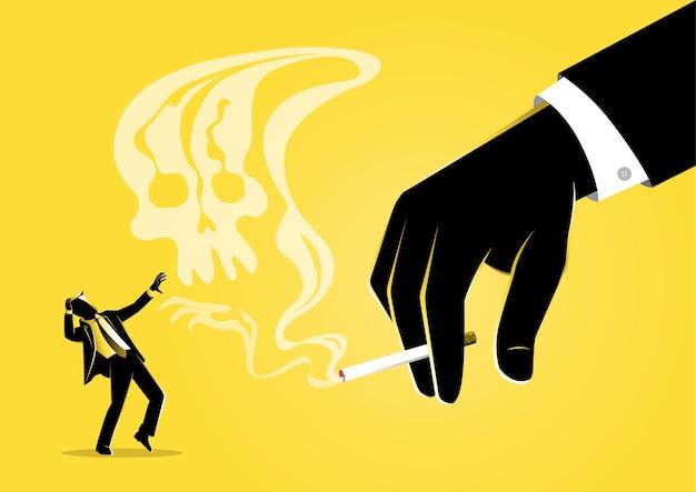 Eine illustration der geschäftsmannhand, die eine brennende zigarette mit rauch hält, der einem schädel ähnelt