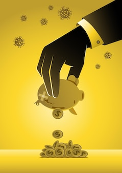 Eine illustration der hand eines geschäftsmannes, die sparschwein zittert. wirtschaftliche auswirkungen des coronavirus covid-19, der finanzkrise und des konzepts der wirtschaftlichen rezession