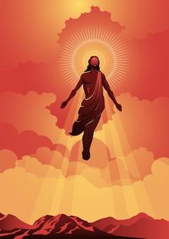 Eine illustration der himmelfahrt jesu christi. vektor-illustration. biblische reihe