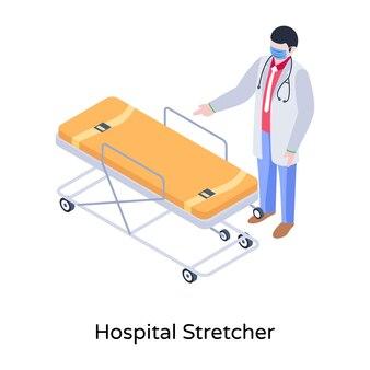 Eine illustration der krankenhaustrage im modernen isometrischen design