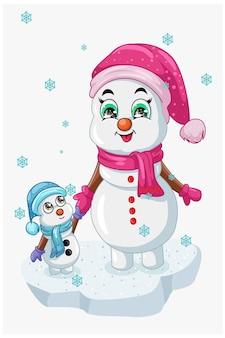 Eine illustration der schneemannmutter, die spaß mit ihrem kind unter kristallregen im winterschnee hat