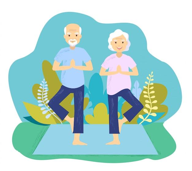 Eine illustration des älteren paares, das yogaübung macht. älteres paar, das yogaübung macht.