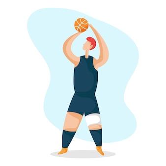 Eine illustration des basketballspielercharakters, der basketball spielt