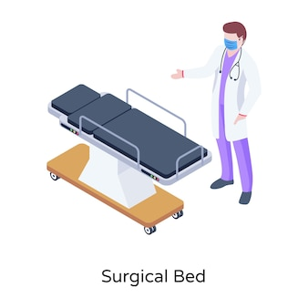 Eine illustration des chirurgischen bettes im modernen isometrischen design