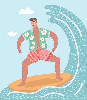 Eine illustration des mannes, der auf dem ozean surft